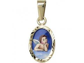 Dětský přívěsek - ochranný andílek modrý v rytém rámečku, žluté nebo bílé zlato
