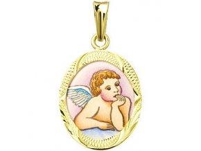 Dětský přívěsek - ochranný andílek v rytém rámečku, žluté nebo bílé zlato