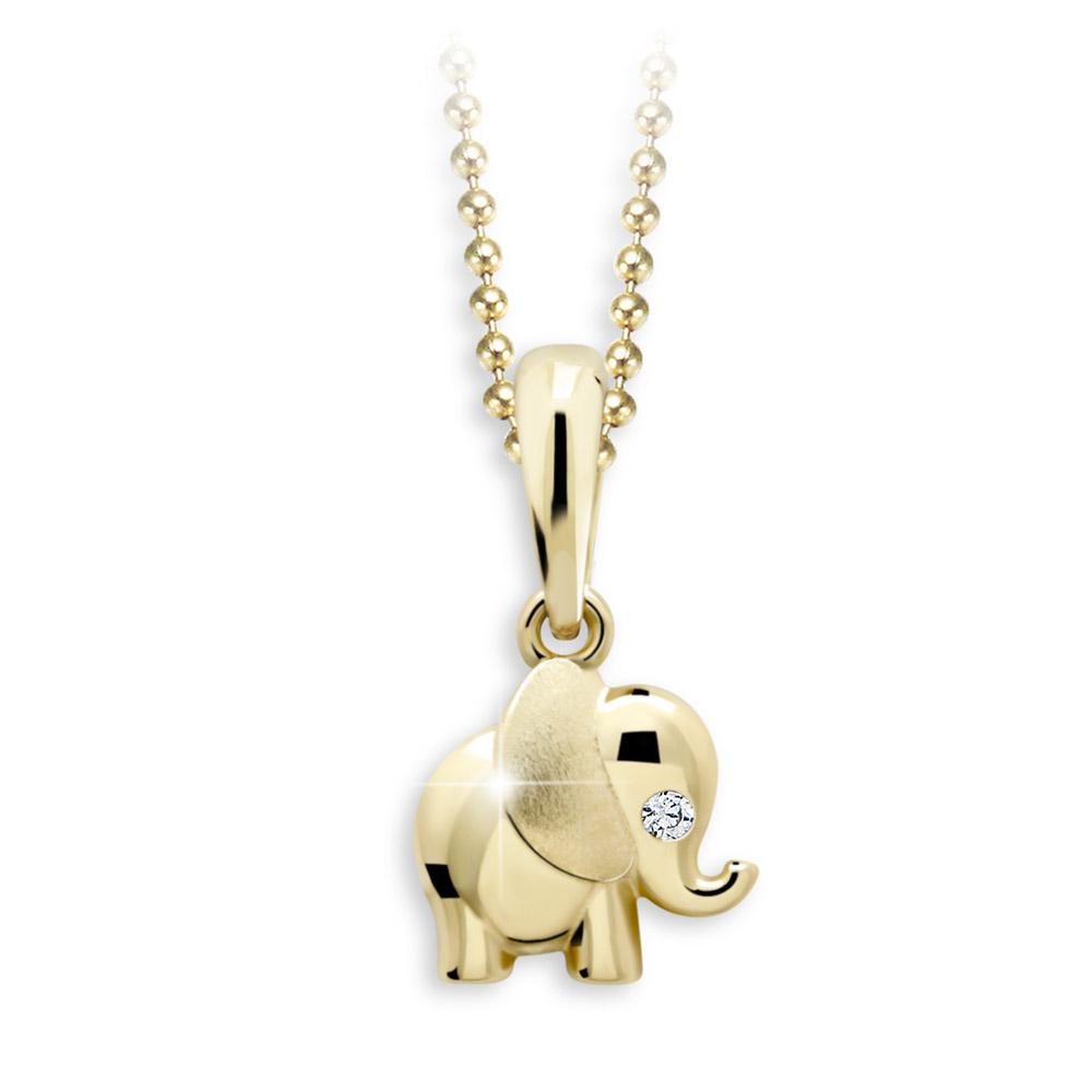 Zlatý dětský přívěsek s briliantem - slon