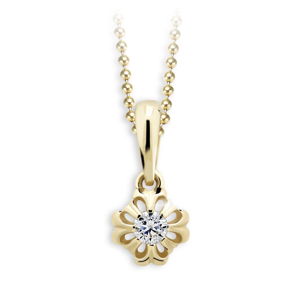 Cutie Diamonds Zlatý přívěsek s briliantem - květina