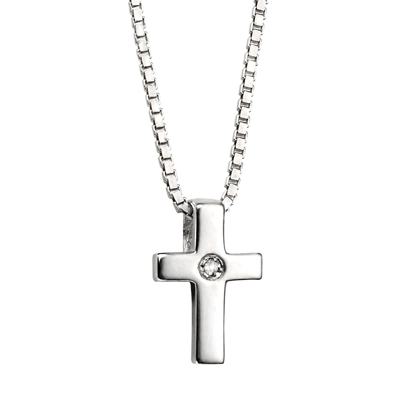 Stříbrný dětský náhrdelník s křížkem - diamant