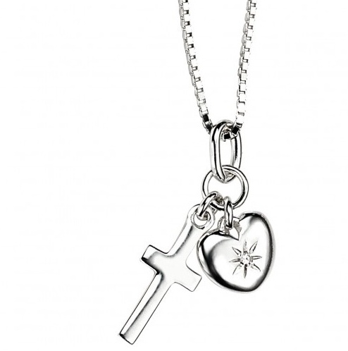 Stříbrný dětský náhrdelník s křížkem a srdíčkem - diamant