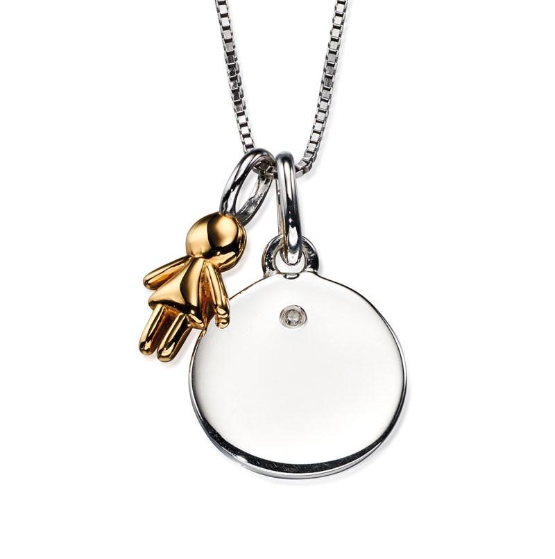 Stříbrný náhrdelník, dárek pro maminku s diamantem Přívěsek: bez rytiny