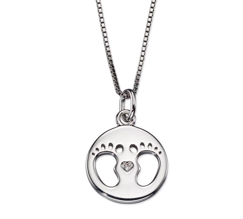 Stříbrný náhrdelník, dárek pro maminku s diamantem a otisky dětských nožiček