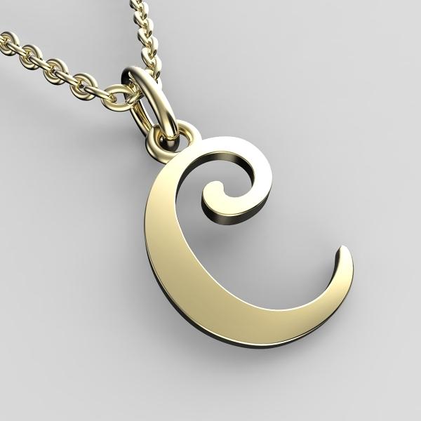 Přívěsky ze žlutého zlata - písmenka A-Z Písmeno: C