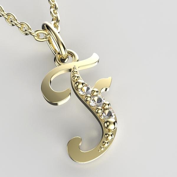 Přívěsky ze žlutého zlata se zirkony - písmenka A-Z Písmeno: F