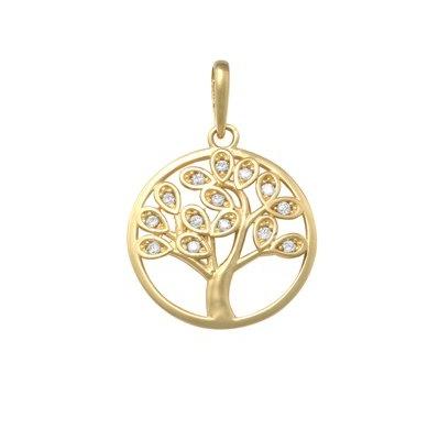 Zlatý přívěsek - strom života se zirkony