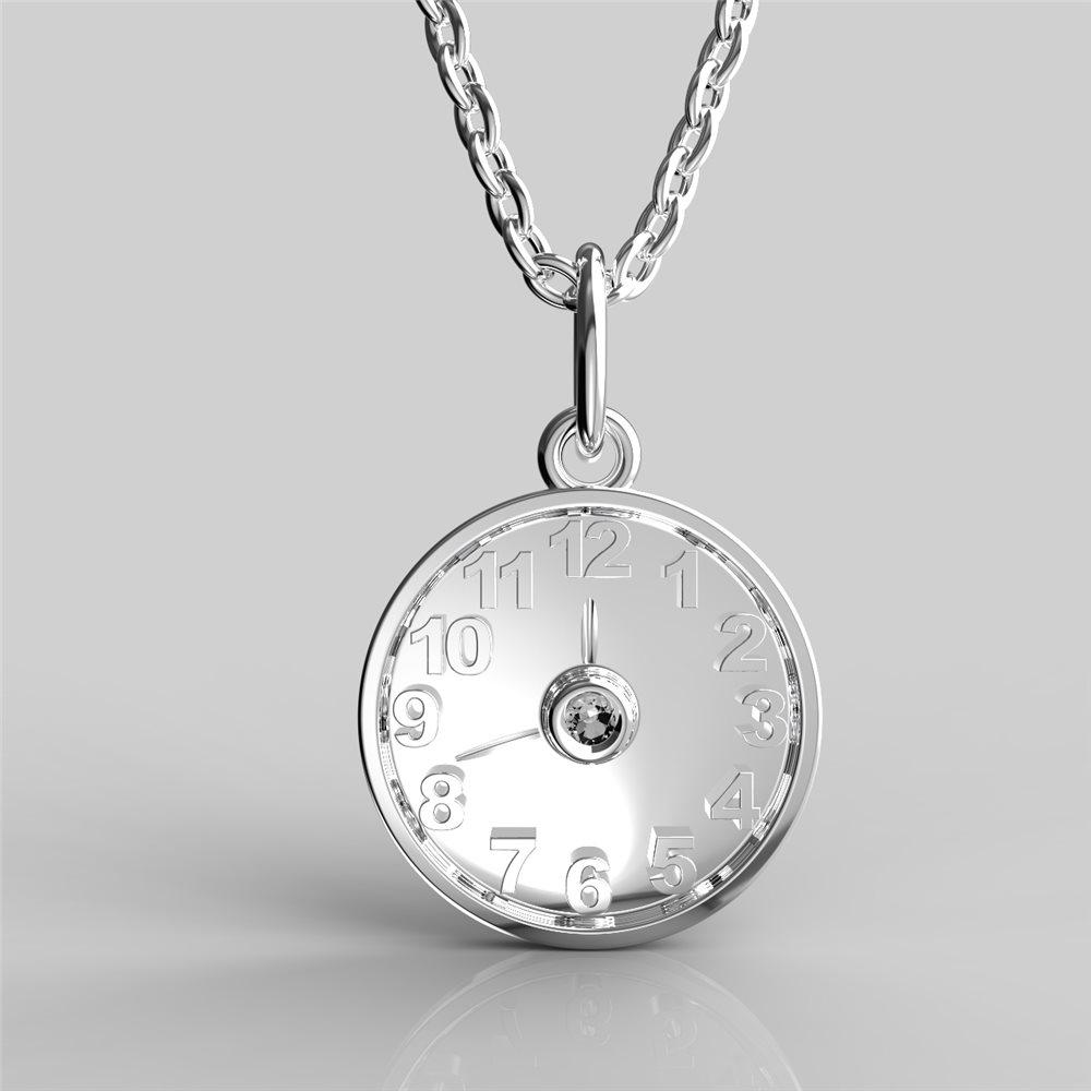 Křtící hodiny z bílého zlata s čirým nebo barevným zirkonem