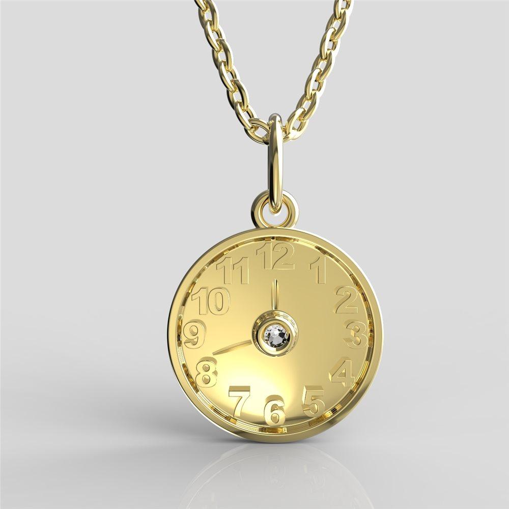 Křtící hodiny ze žlutého zlata s čirým nebo barevným zirkonem