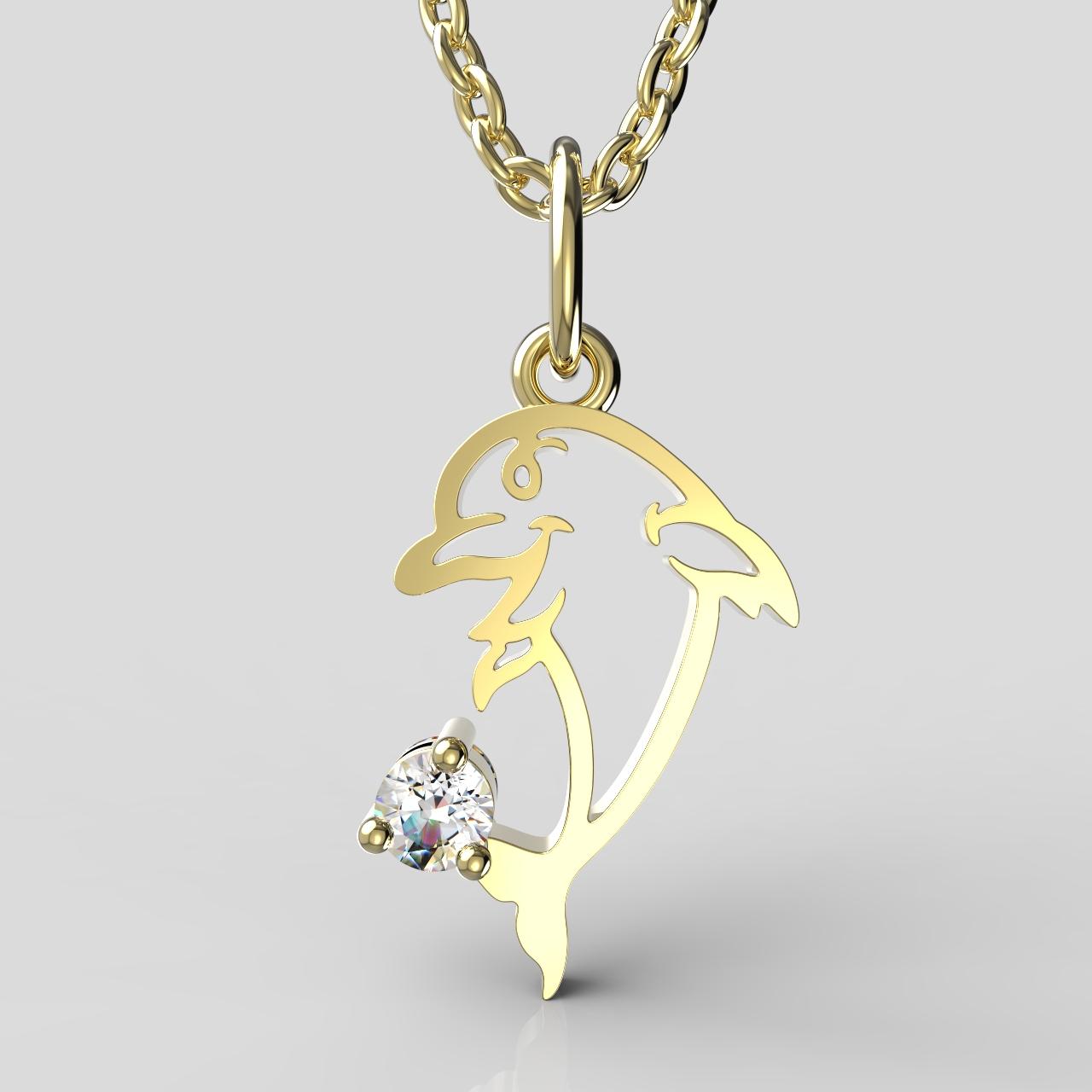 Zlatý dětský přívěsek - delfínek se zirkonem