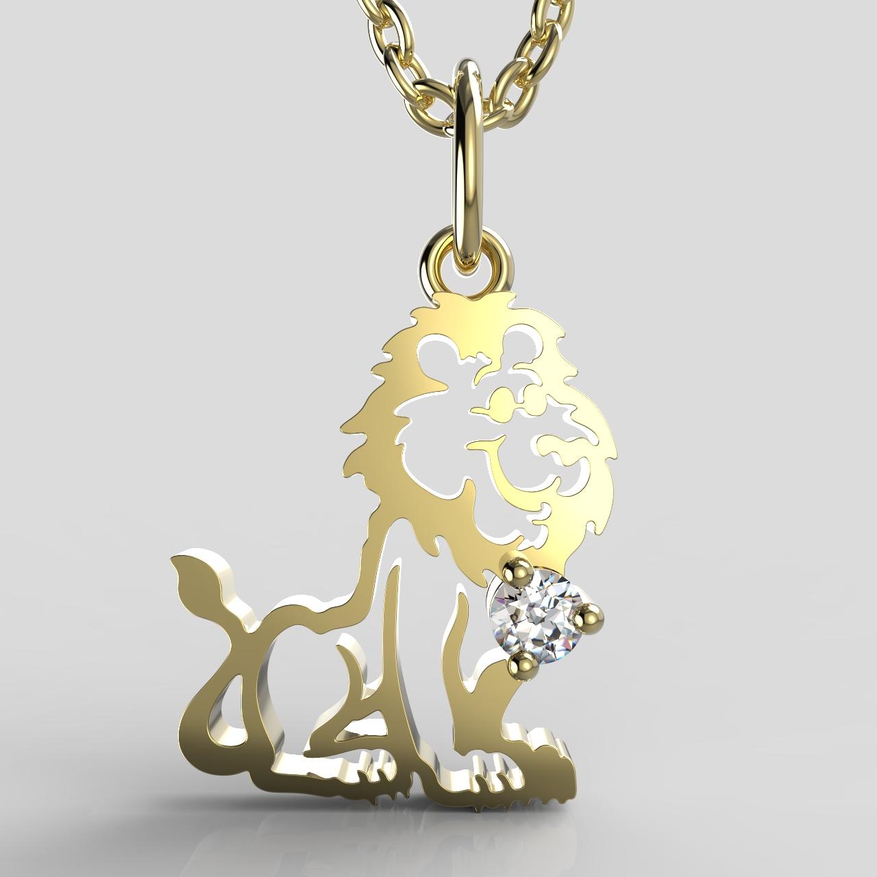 Zlatý dětský přívěsek - lvíček se zirkonem