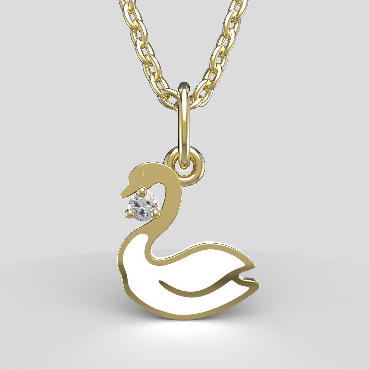 Zlatý dětský přívěsek - labuť se zirkonem Barva: bílá