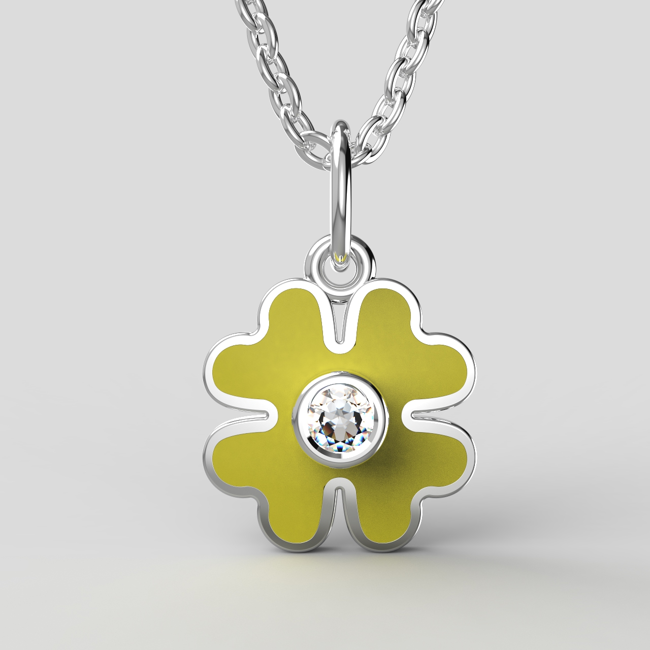 Zlatý dětský přívěsek - čtyřlístek se zirkonem Barva: žlutá