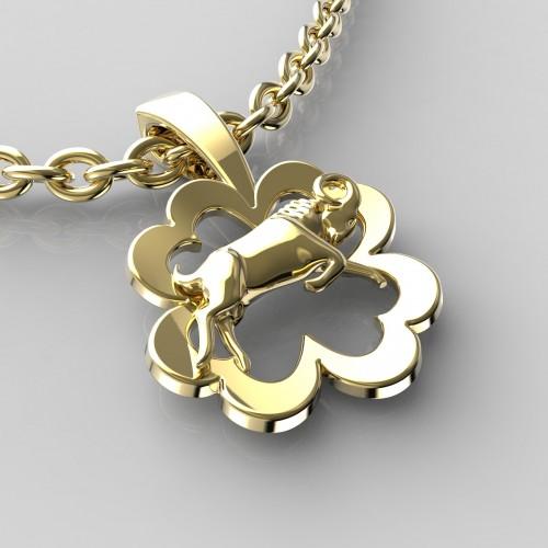 Zlatý přívěsek znamení beran - kytička