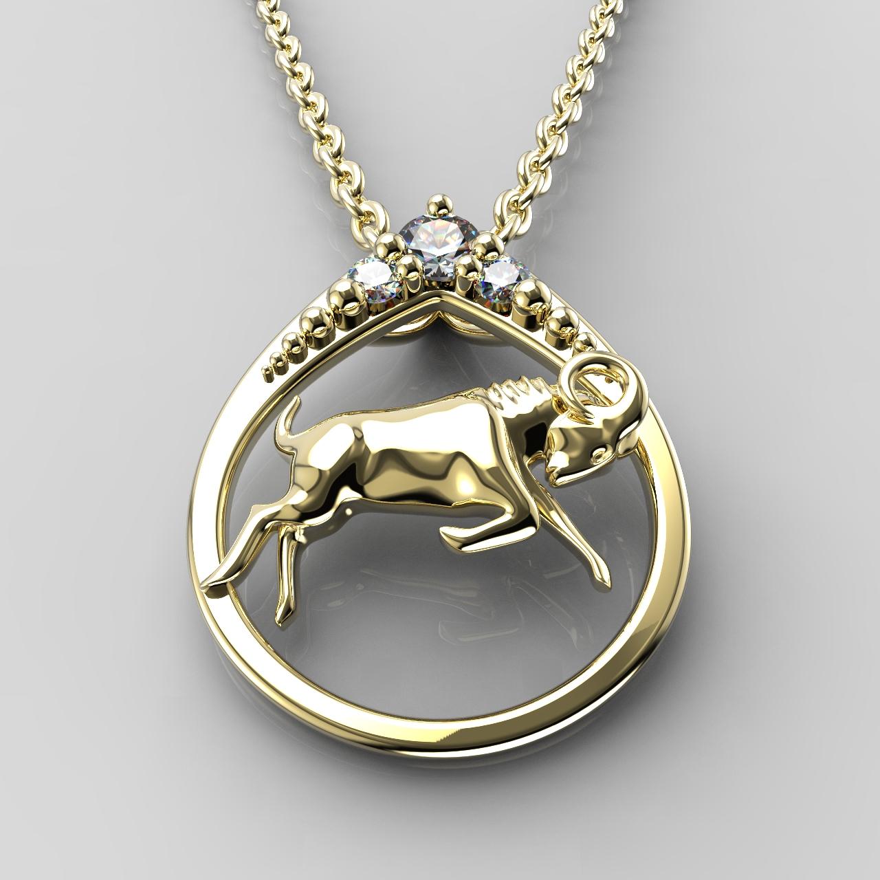 Zlatý přívěsek znamení Beran - ve tvaru kapky se zirkony či diamanty