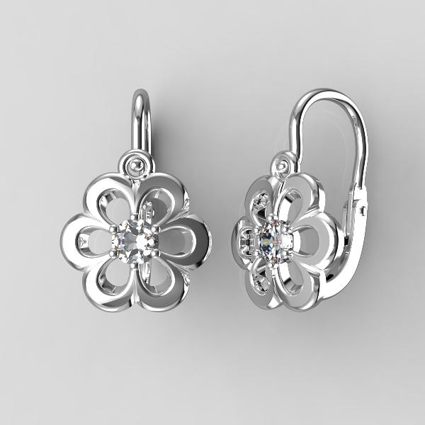 Dětské zlaté náušnice - kytičky se zirkonem nebo diamantem Kamínek: Bílé zlato 14K, diamant 0,1 ct