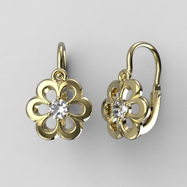 Dětské zlaté náušnice - kytičky se zirkonem nebo diamantem Kamínek: Žluté zlato 14K, diamant 0,1 ct