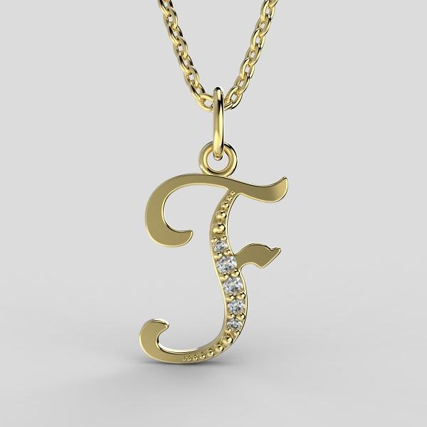 Dětské přívěsky ze žlutého zlata zdobené zirkony - písmenka Písmeno: Písmeno F