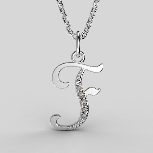 Dětské přívěsky z bílého zlata se zirkony - písmenka Písmeno: Písmeno F