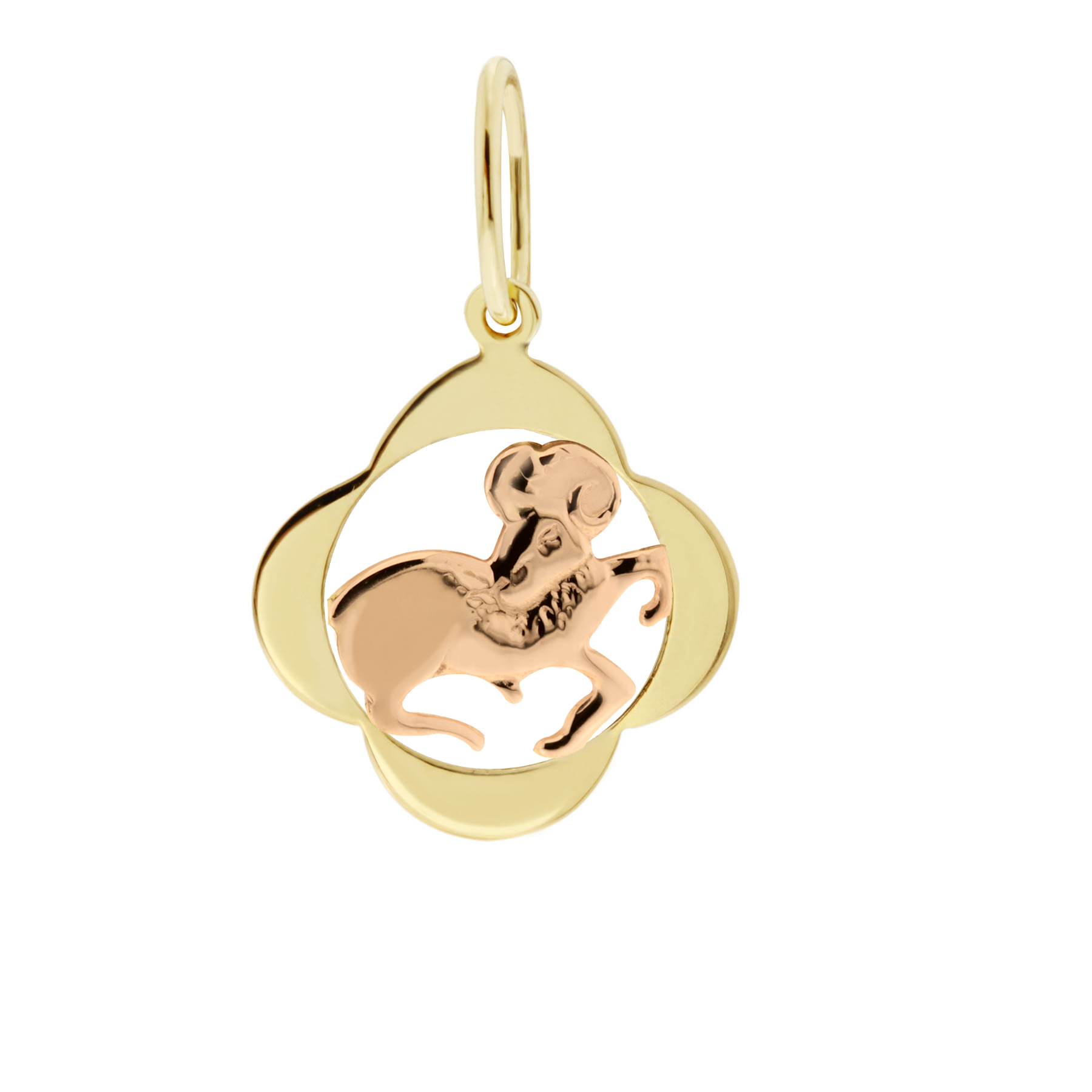 Zlatý přívěsek - znamení zvěrokruhu Beran Tvar: Čtyřlístek, hladký rámeček