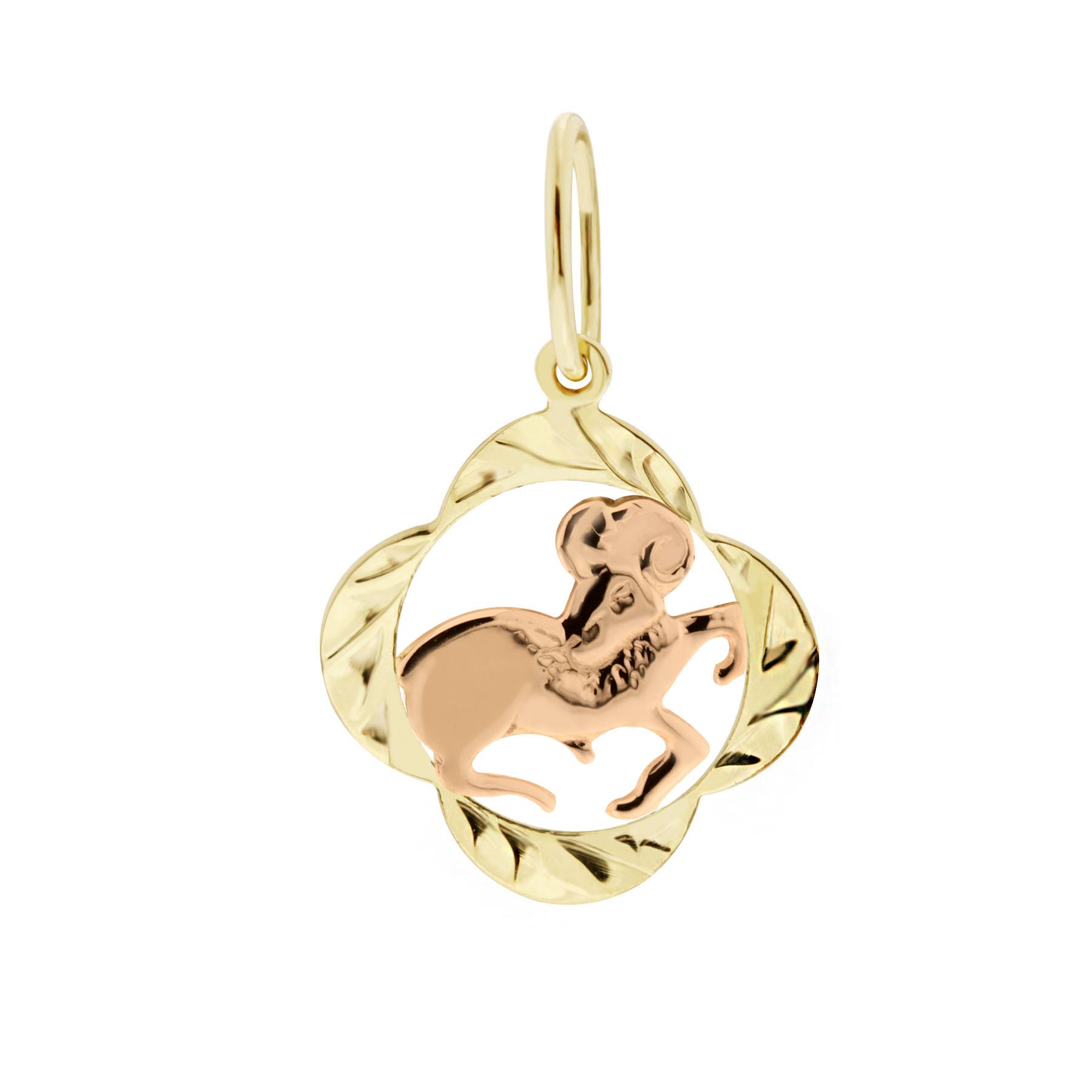 Zlatý přívěsek - znamení zvěrokruhu Beran Tvar: Čtyřlístek, rytý rámeček
