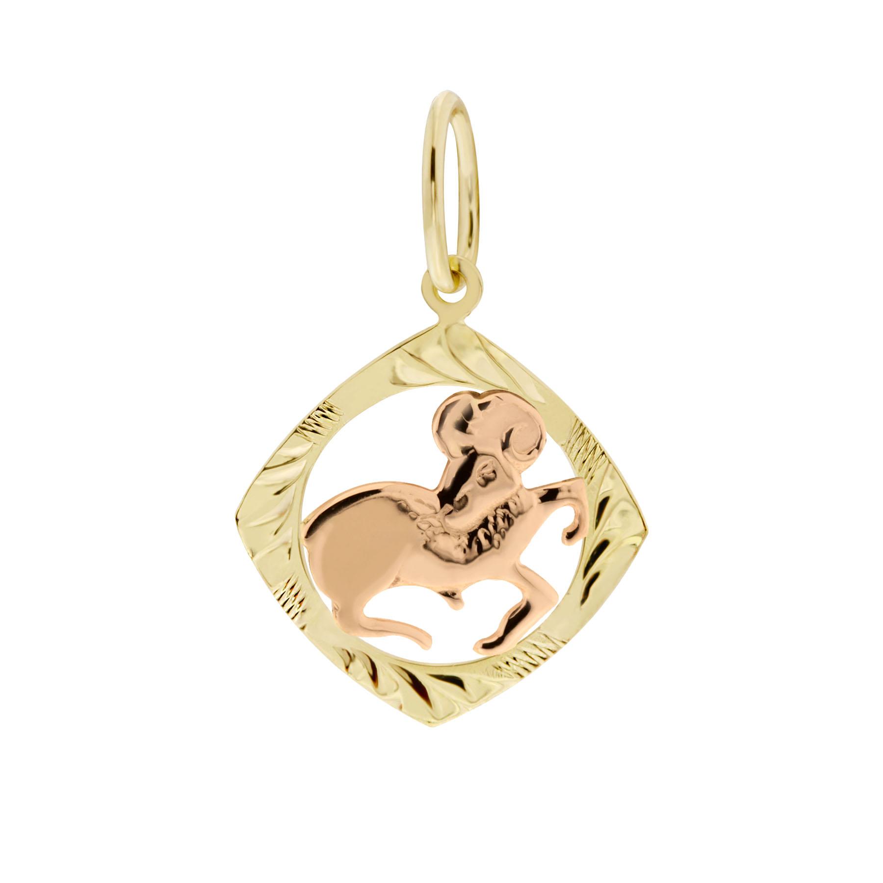 Zlatý přívěsek - znamení zvěrokruhu Beran Tvar: Čtvereček, rytý rámeček