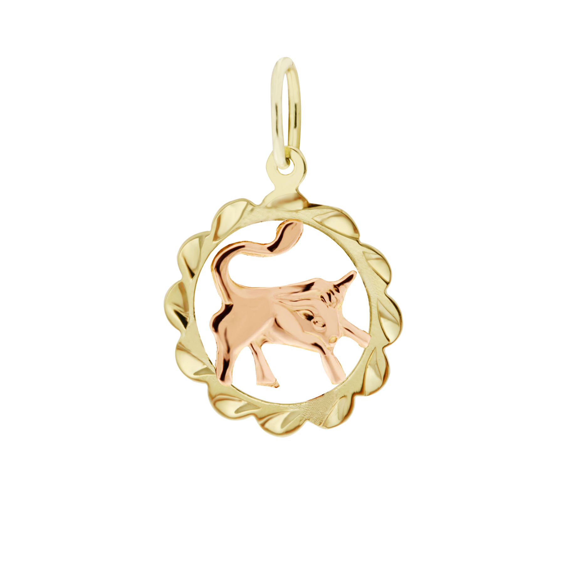 Zlatý přívěsek - znamení zvěrokruhu Býk Tvar: Kytička, rytý rámeček