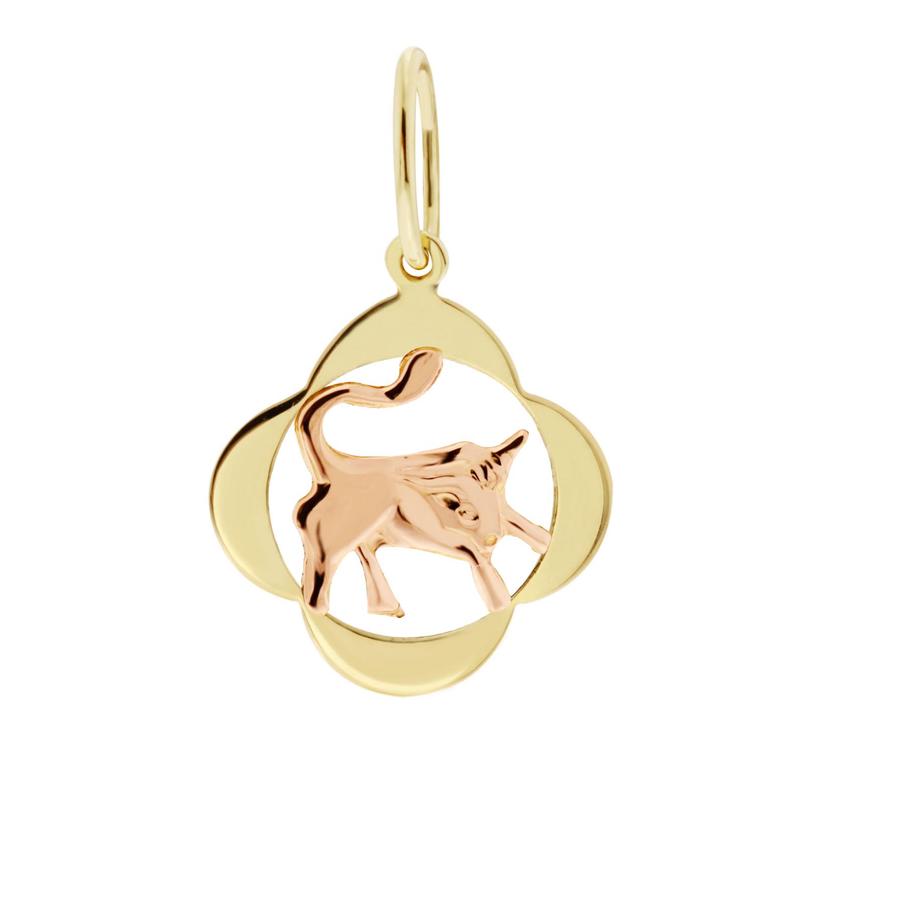 Zlatý přívěsek - znamení zvěrokruhu Býk Tvar: Čtyřlístek, hladký rámeček