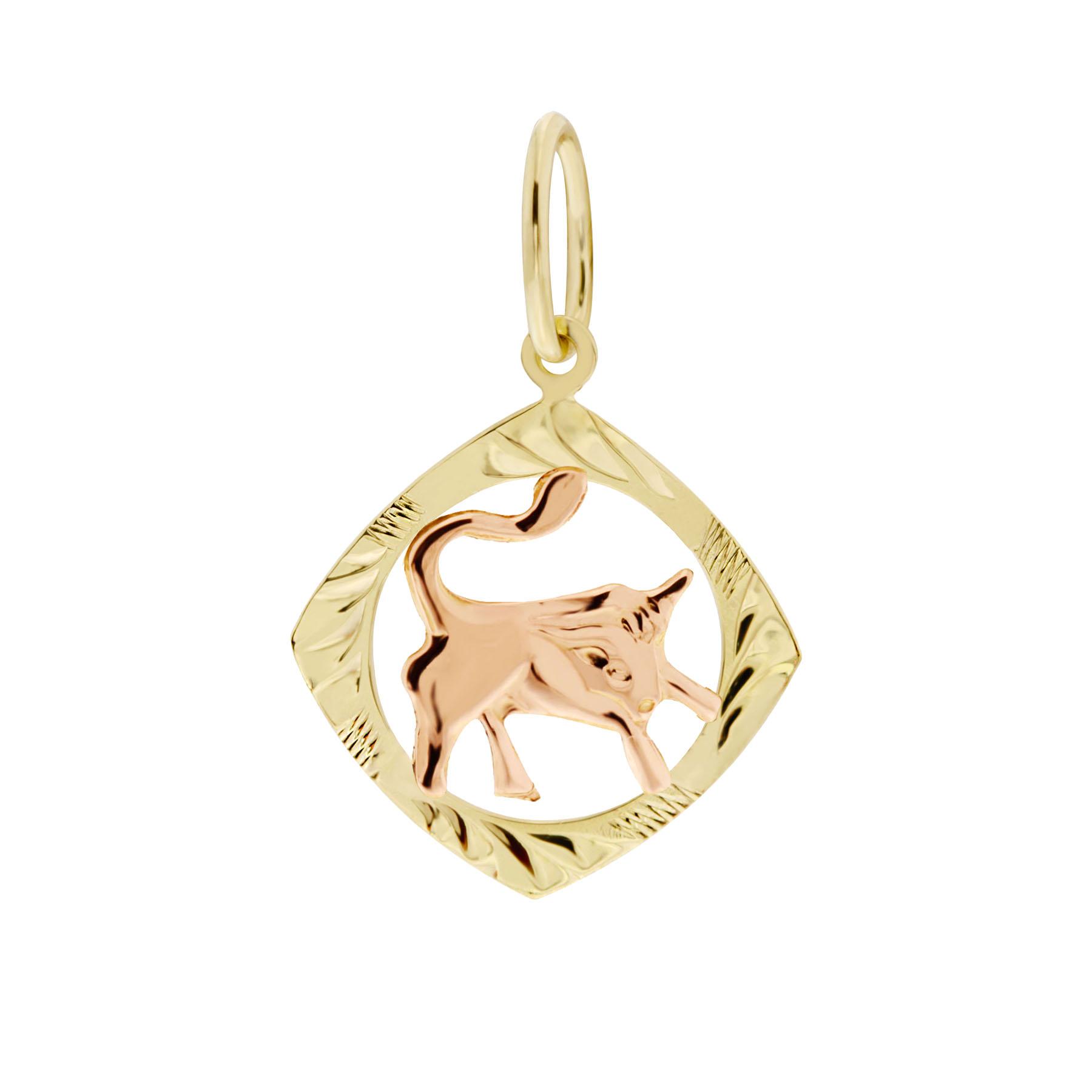 Zlatý přívěsek - znamení zvěrokruhu Býk Tvar: Čtvereček, rytý rámeček