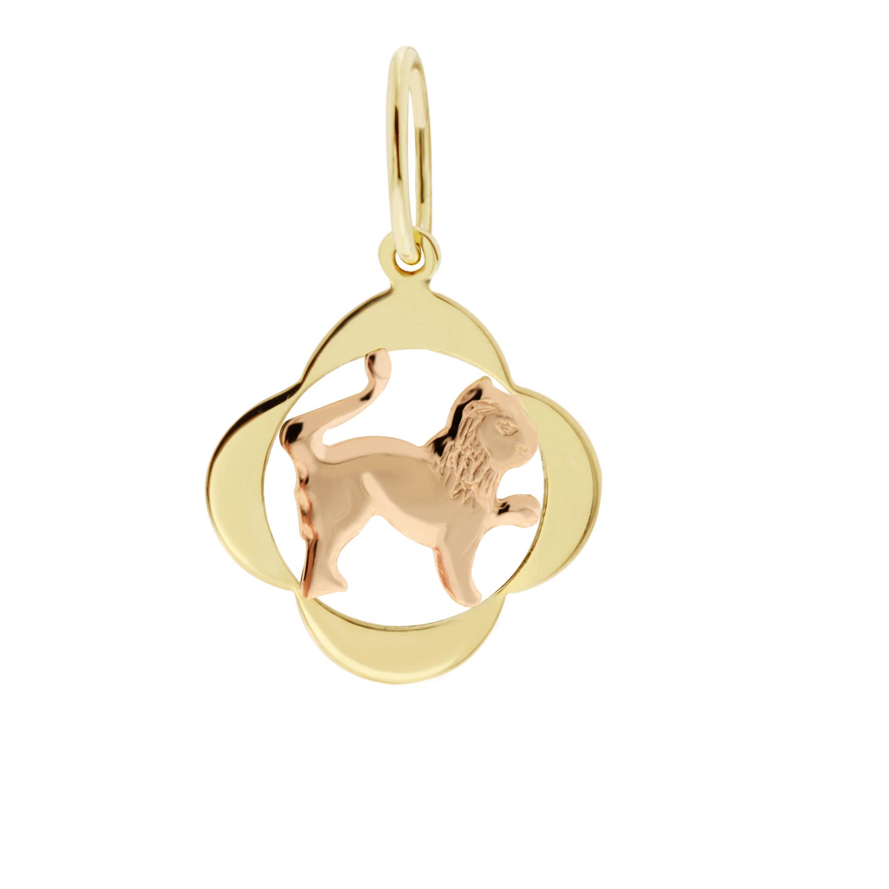 Zlatý přívěsek - znamení zvěrokruhu Lev Tvar: Čtyřlístek, hladký rámeček