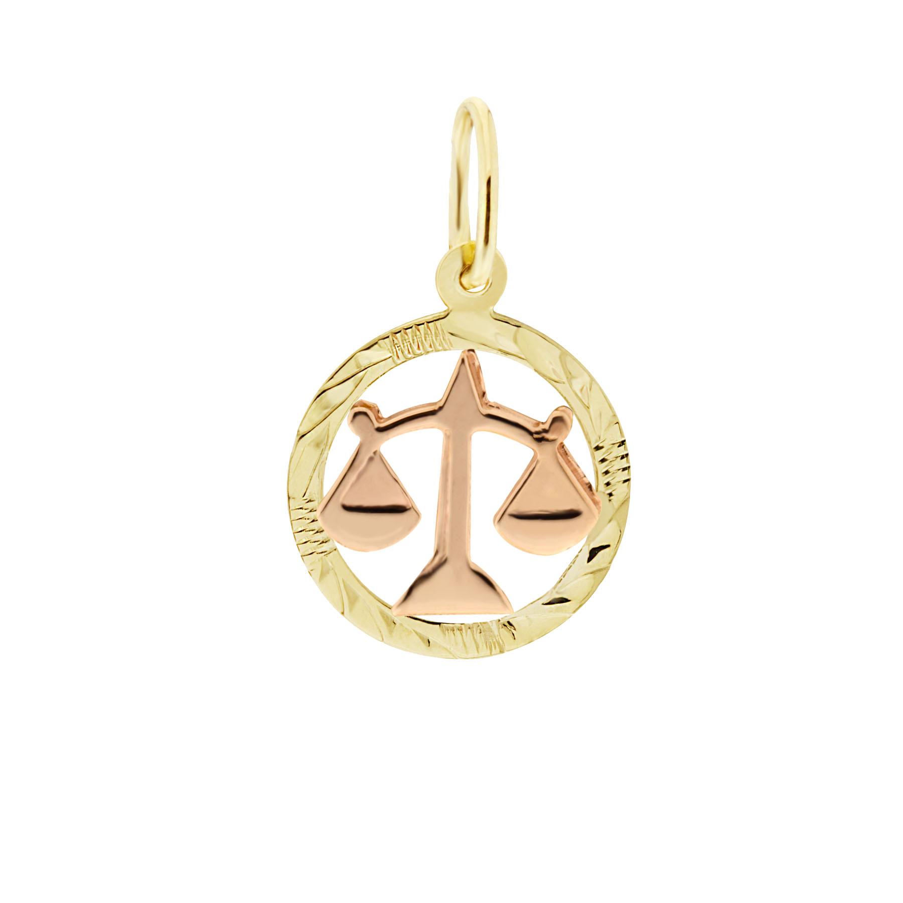 Zlatý přívěsek - znamení zvěrokruhu Váhy Tvar: Kolečko, rytý rámeček