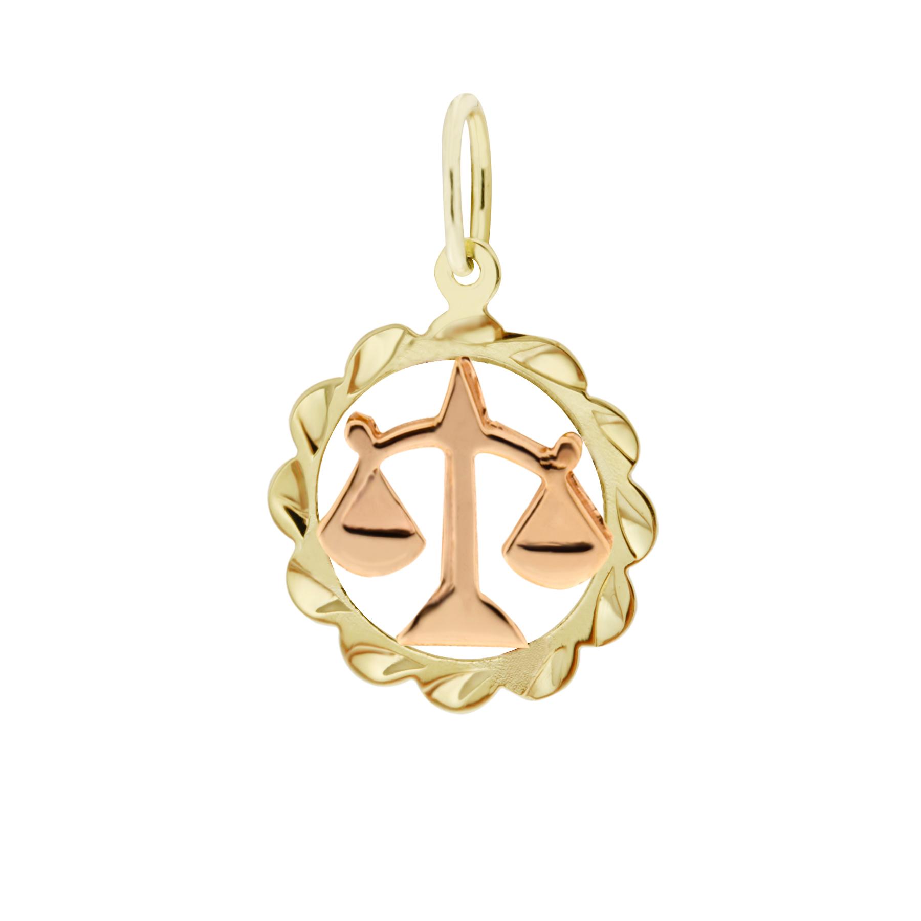 Zlatý přívěsek - znamení zvěrokruhu Váhy Tvar: Kytička, rytý rámeček