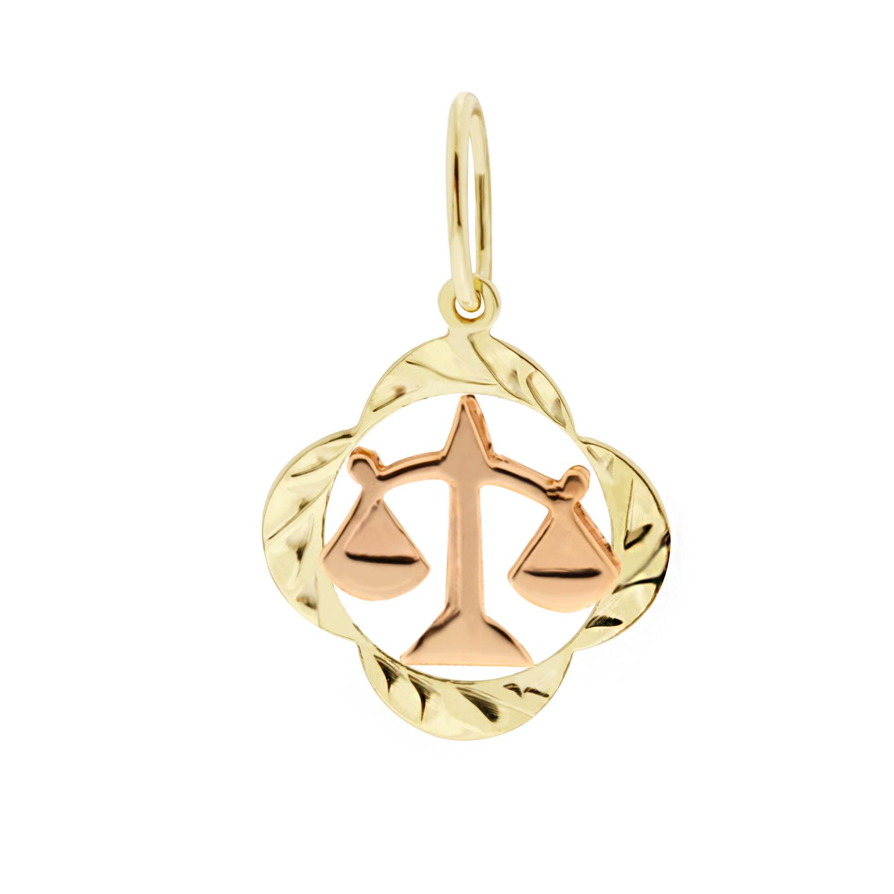 Zlatý přívěsek - znamení zvěrokruhu Váhy Tvar: Čtyřlístek, rytý rámeček
