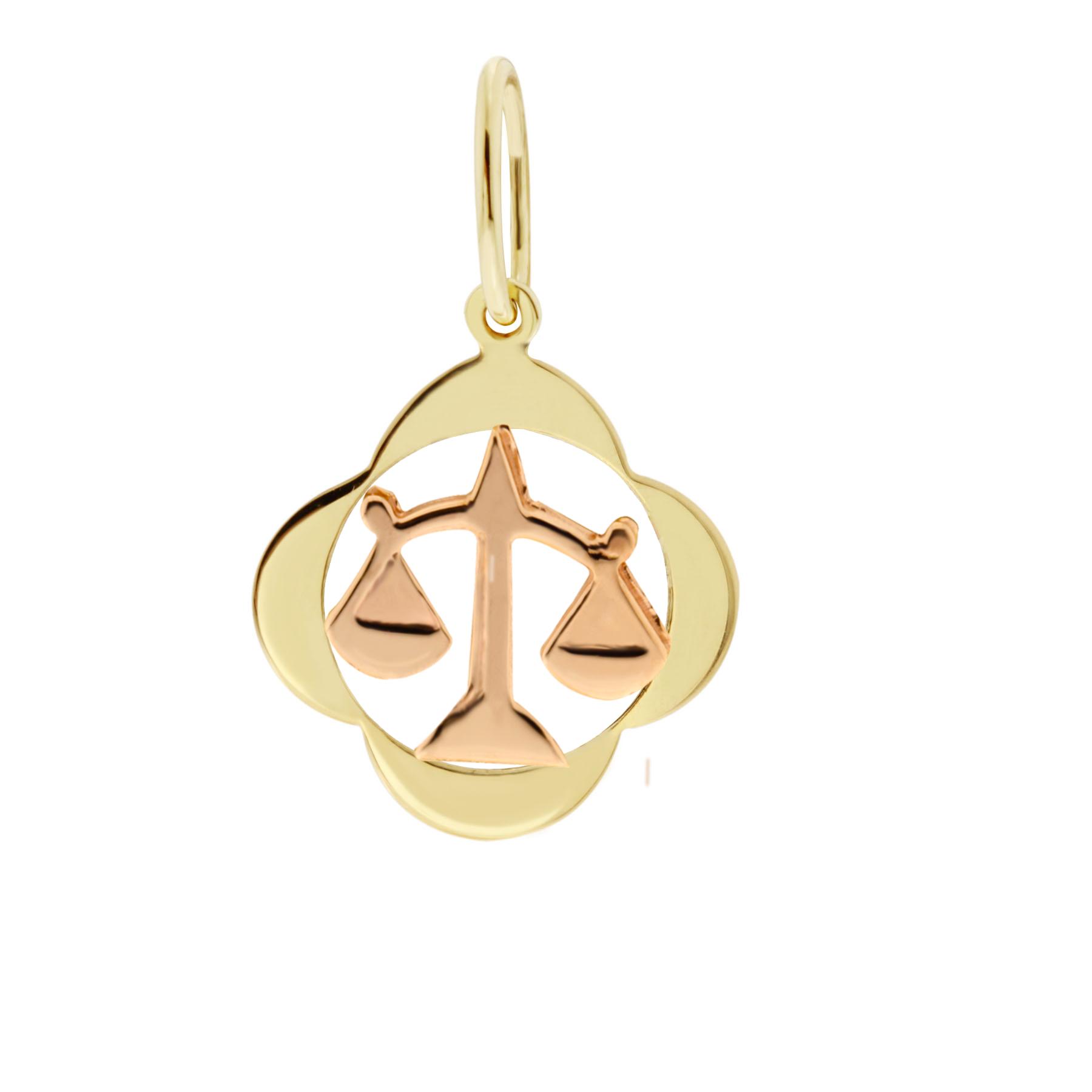 Zlatý přívěsek - znamení zvěrokruhu Váhy Tvar: Čtyřlístek, hladký rámeček