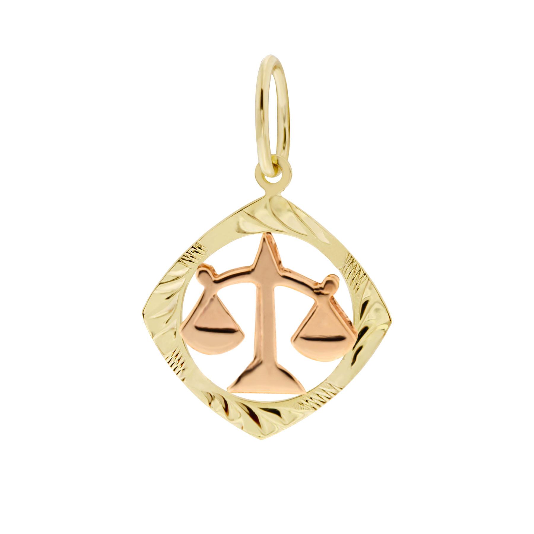 Zlatý přívěsek - znamení zvěrokruhu Váhy Tvar: Čtvereček, rytý rámeček