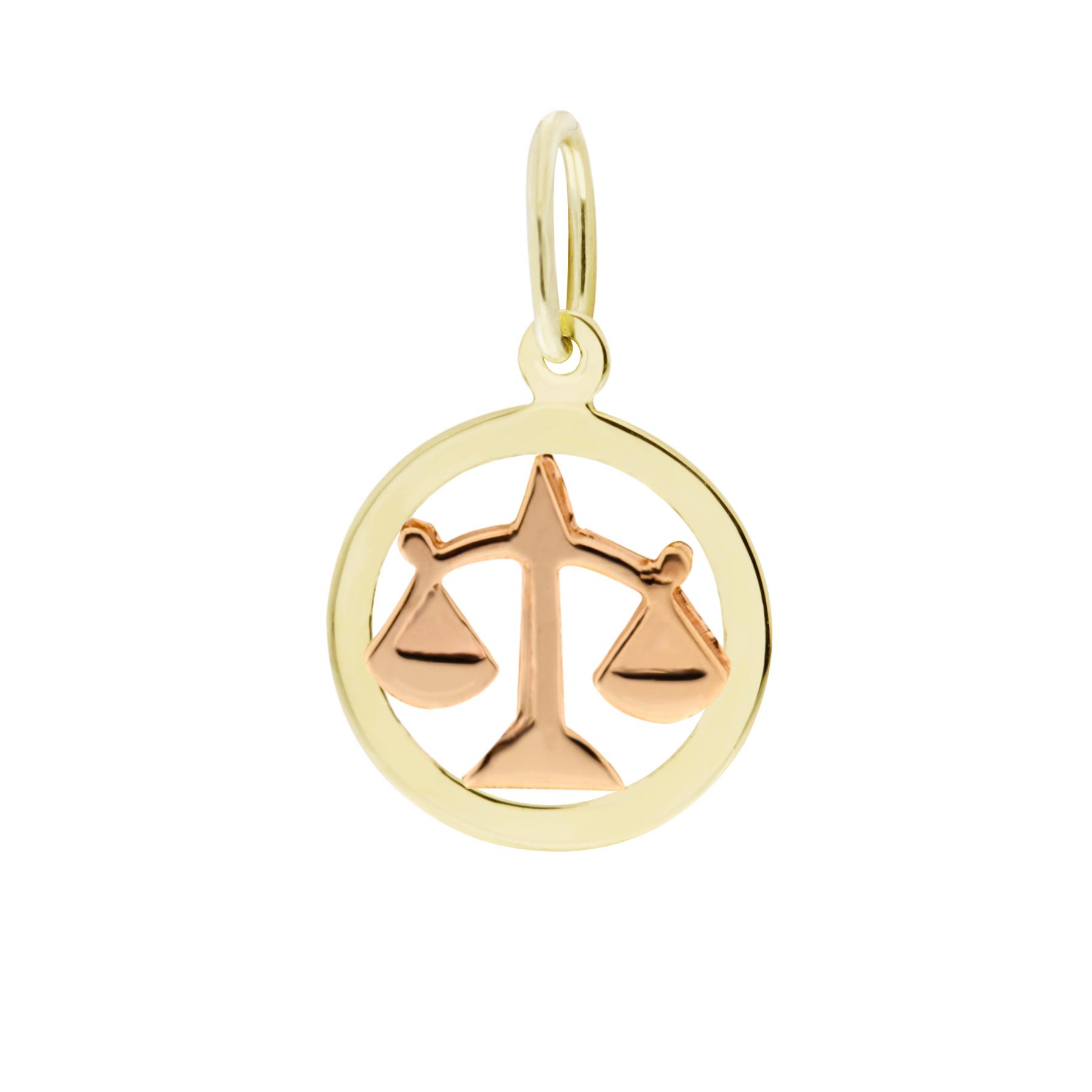 Zlatý přívěsek - znamení zvěrokruhu Váhy Tvar: Kolečko, hladký rámeček