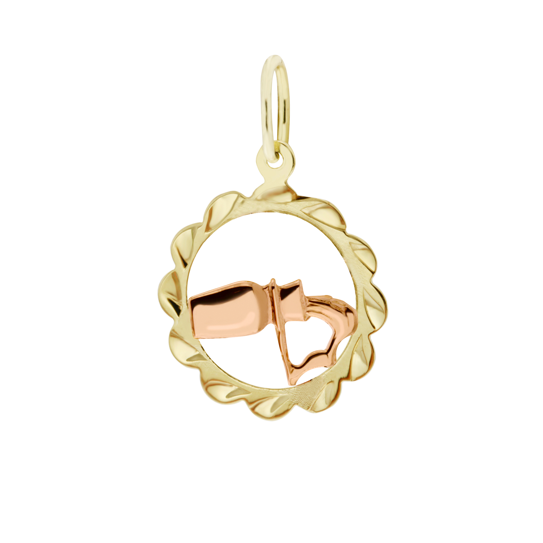 Zlatý přívěsek - znamení zvěrokruhu Vodnář Tvar: Kytička, rytý rámeček