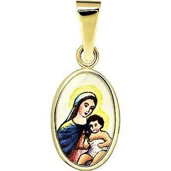 Zlatý dětský přívěsek - madonka s dítětem světlá