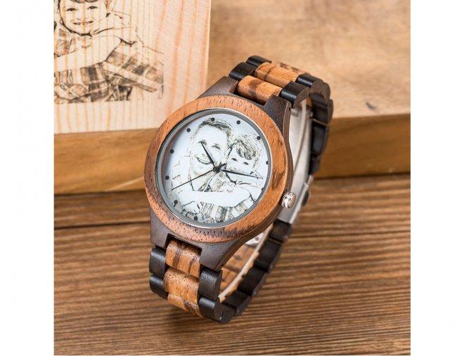 Pánské dřevěné hodinky BOBO BIRD s vlastní fotografií na ciferníku i krabičce PETER