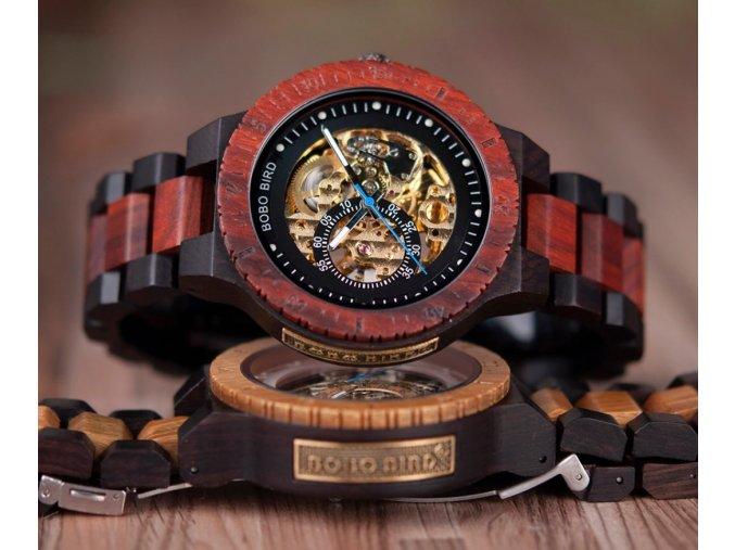 Luxusní pánské dřevěné hodinky BERMO s viditelným mechanismem