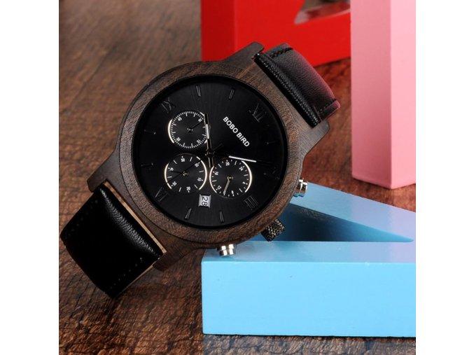 Pánské dřevěné hodinky CHRONOGRAPH LEATHER