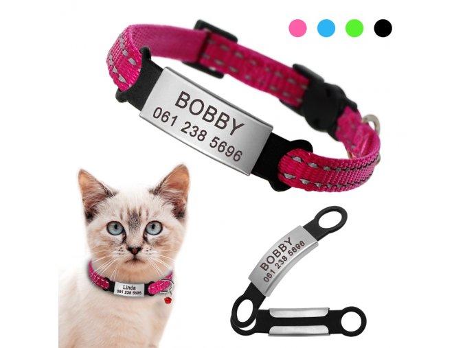 Obojek se jménem a telefonním číslem pro kočky a malé psy  PINE