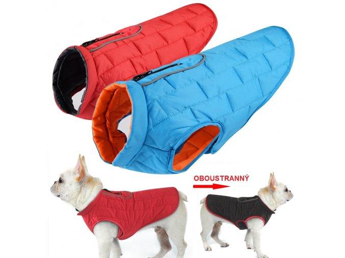 Nepromokavý obleček pro psy s reflexními prvky OBOUSTRANNÝ
