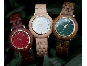 Luxusní dámské dřevěné hodinky QUARTZ ANNIVERSARY