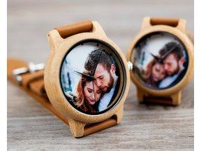 Dřevěné hodinky s vlastní fotografií a textem