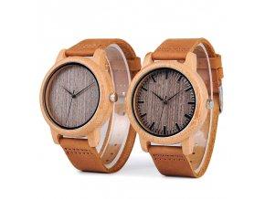 Pánské dřevěné hodinky Bobo bird LEATHER