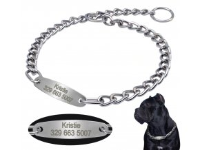 Řetězový obojek pro psa se jménem a telefonním číslem