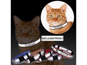 Kožený obojek se jménem a telefonním číslem pro kočky nebo malé psy REFLEX