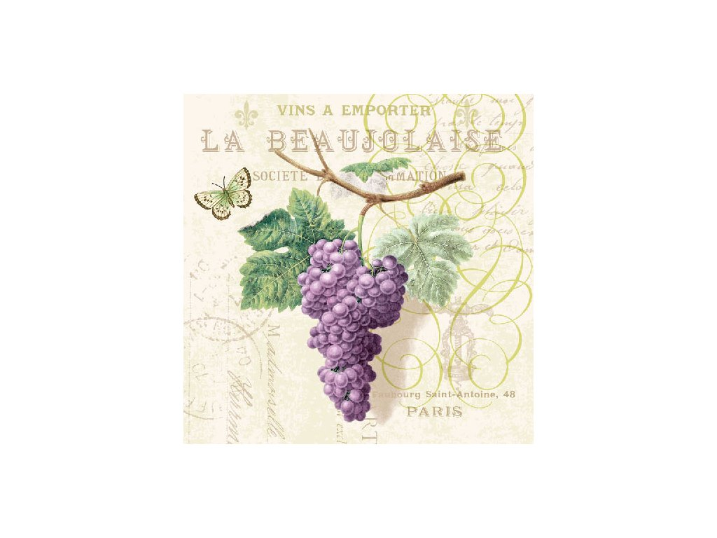 Napkin 33 Purple Grapes Cream