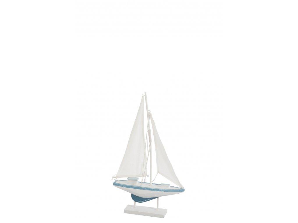 loď dřevěná bílo-modrá